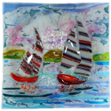 "12"" shallow glass bowl with sailing boats design"