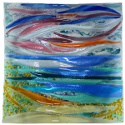 "12"" glass platter with sailing boats design"