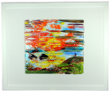 fused glass picture, abstract landscape, sunset