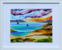 fused glass picture, quiet seascape with boats